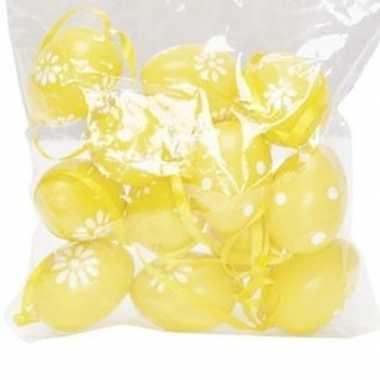 12x plastic eieren geel stippen en bloemen met lusje 4 cm