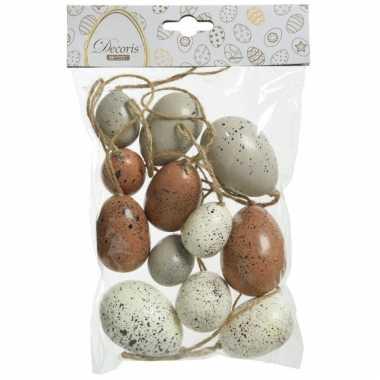 12x stuks kunststof vogel eieren/paaseieren 4/5/6 cm