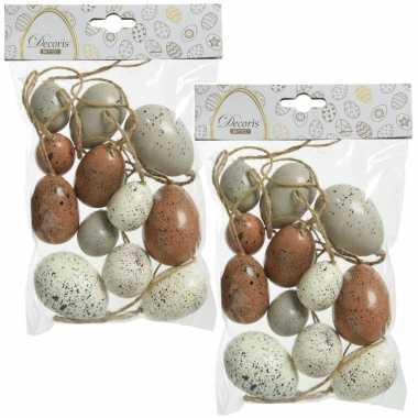 24x stuks kunststof vogel eieren/paaseieren 4/5/6 cm