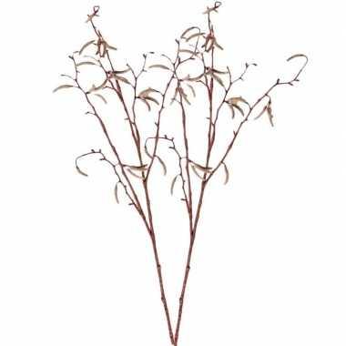 2x nep planten betula pendula/berkenkatjestak kunstbloemen takken 66