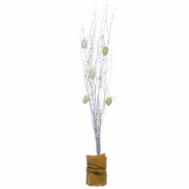 3x bosjes pasen versiering paastakjes wit 75 cm van echt hout