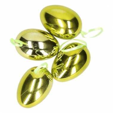 4x groene paaseieren plastic 6 cm