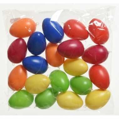 60x gekleurde plastic/kunststof eieren/paaseieren 6 cm