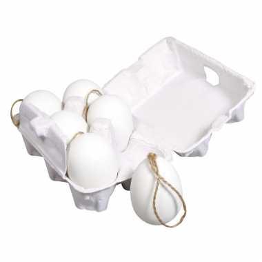 6x stuks plastic eieren met ophanglusjes 6 cm in eierdoos