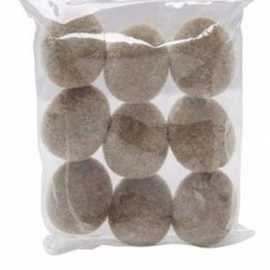 9x plastic fluwelen/flock eieren bruin