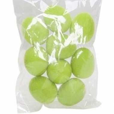 9x plastic fluwelen/flock eieren groen