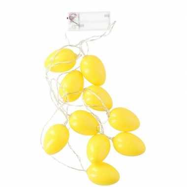 Decoratie paaseieren gele led lichtsnoer op batterijen 192 cm