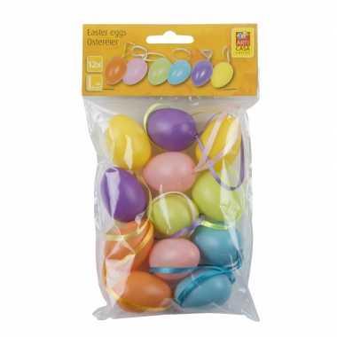 Gekleurde paas tak decoratie eieren 24 stuks