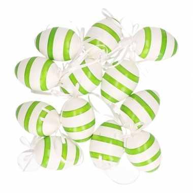 Hangdecoratie paaseieren groen/wit gestreept 24x stuks