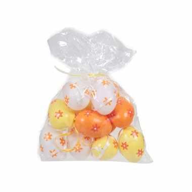 Paaseieren wit oranje geel12 stuks