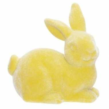 Paashaasjes/konijntjes figuurtjes geel 6 cm