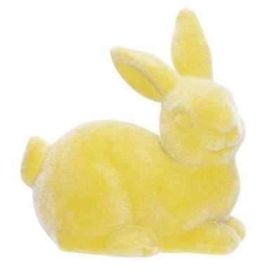 Paashaasjes/konijntjes figuurtjes geel 9 cm