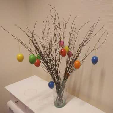 Pasen decoratie takken 10 stuks met eieren en vaas