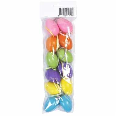 Plastic paaseieren gekleurd 12 stuks