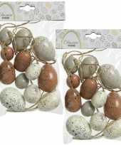 48x stuks kunststof vogel eieren paaseieren 4 5 6 cm